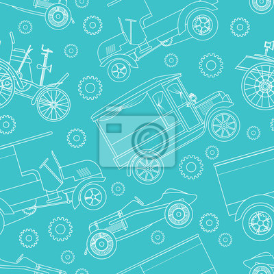 Canvas print Seamless pattern with retro cars: racing, cars, truck