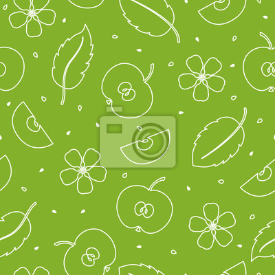 Seamless pattern with slices of Apple, flowers and leaves