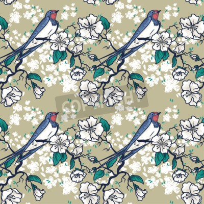 Seamless pattern with swallow sitting on blooming tree branches, sketch style, vector illustration