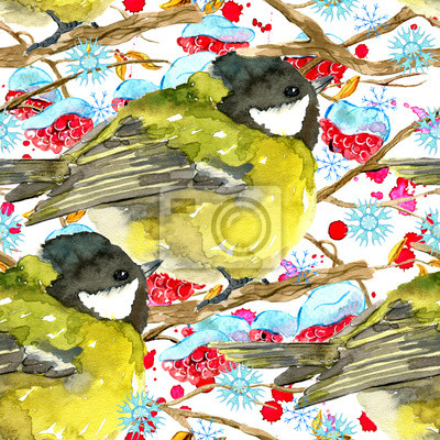 Seamless pattern with tit bird, winter branch with red berries, snowflakes on white. Natural hand painted watercolor illustration with animals