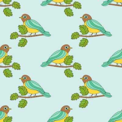 Seamless pattern with tit on a branch.