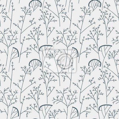Seamless pattern with trees and branches