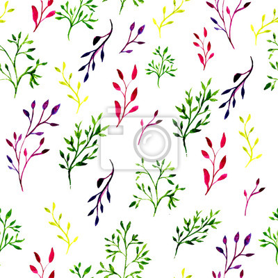 Seamless pattern with watercolor painted branches