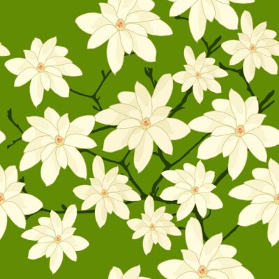 Seamless Pattern with White Magnolia Branch on a Green Backgroun