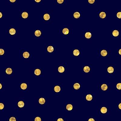 Canvas print Seamless polka dot golden pattern.