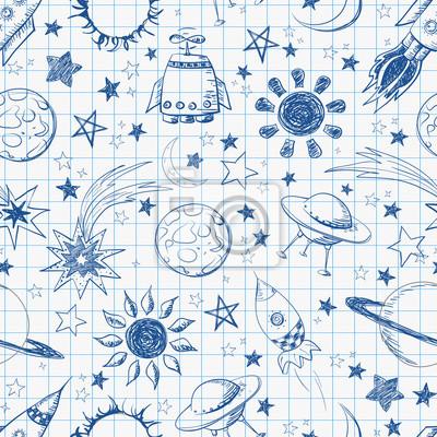 Canvas print Seamless space pattern