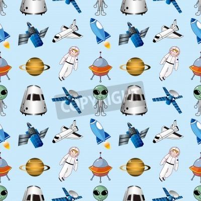 seamless space pattern ,cartoon vector illustration