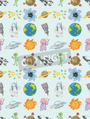 seamless Space pattern,cartoon vector illustration