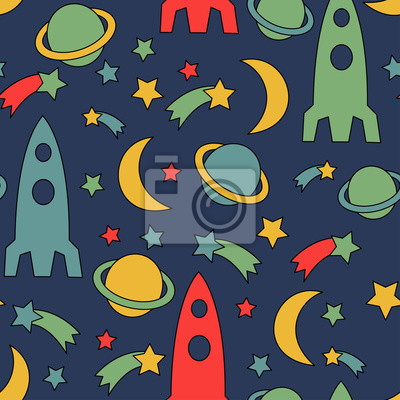 Seamless space pattern. Cosmic background with stars, planet, spaceship, rocket, moon. Cute child drawing style cosmic sky vector illustration.