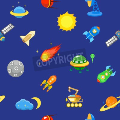 Seamless space pattern.  Planets, rockets and stars. Cartoon spaceship icons. Childish background.