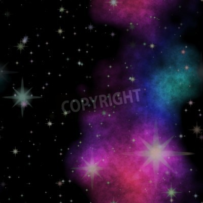 Seamless space pattern texture with color nebula