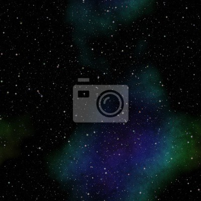 Seamless space pattern with green and blue nebula