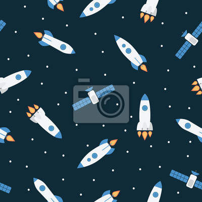 Seamless space pattern with rockets and stars