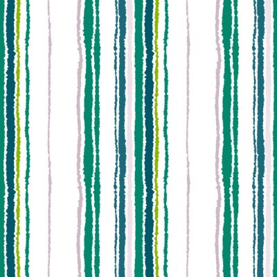 Canvas print Seamless strip pattern. Vertical lines with torn paper effect. Shred edge background. Contrast light and dark gray, olive, green colors on white. Vector