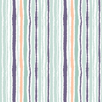 Canvas print Seamless strip pattern. Vertical lines with torn paper effect. Shred edge background. Light and dark gray, olive, turquoise colors on white. Vector