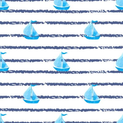 Canvas print Seamless striped marine background with blue ships. Vector sea background with boats.