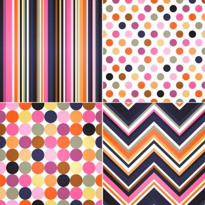 Canvas print seamless stripes, zig zag and polka dots background
