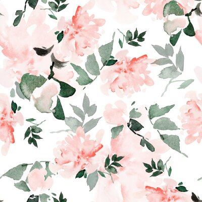 Canvas print Seamless summer pattern with watercolor flowers handmade.