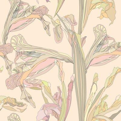 Canvas print seamless vector background gentle flowers iris on beige backdrop