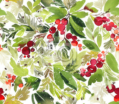 Canvas print Seamless watercolor Christmas pattern with berries and spruce