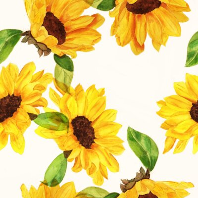 Canvas print Seamless watercolour sunflowers pattern on white background
