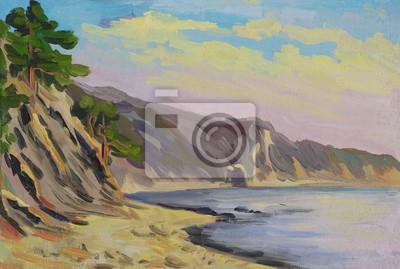 Seascape. Beach, rocks, pine. Oil painting