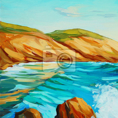 seascape mediterranean coast, oil painting on canvas, illustration