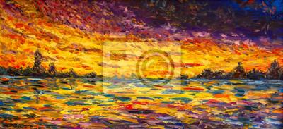 Seascape oil painting art. Bright sunset over water, sea, ocean - impressuionism palette knife fine art impasto landscape on canvas