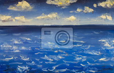 Seascape Oil painting. Blue sky clouds, sea water waves art canvas