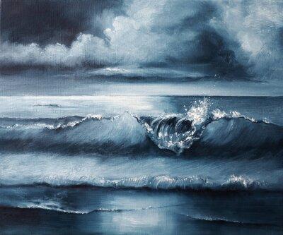 Seascape Oil Painting on Canvas, Original Modern Navy Blue Seascape Art, Little Fine Realistic Nautical Painting