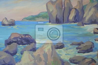 seascape, rocks, waves. Oil painting
