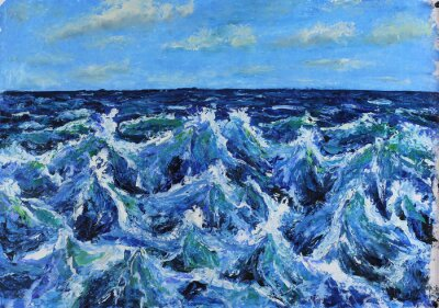 seascape, waves of the sea, blue sky, clouds, oil painting