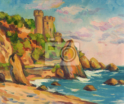 Seascape with a fortress on the shore. The waves beat against the rocks. Oil painting
