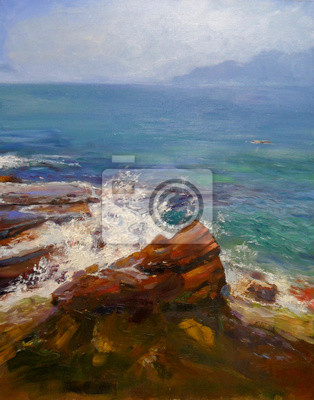 Seascape with rocks coast, oil painting on canvas in impressionistic style