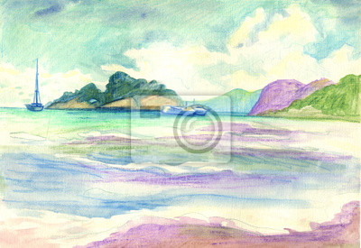 Seascape with ships near the island. Watercolor painting