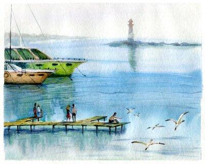 Canvas print Seascape, yachts, watercolor
