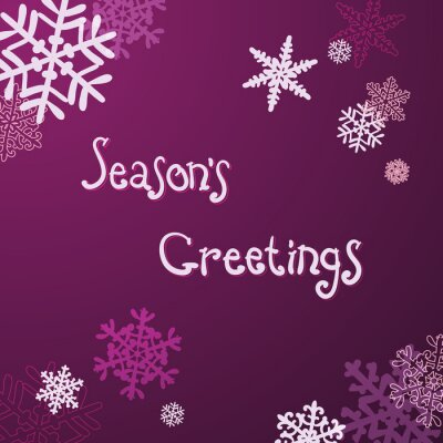 """""""Season's Greetings"""" Christmas card with handwritten text and snowflakes."""