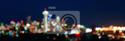 Seattle city skyline night