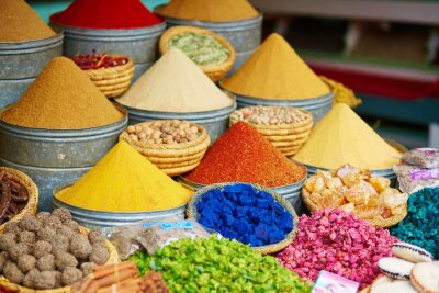 Canvas print Selection of spices on a Moroccan market