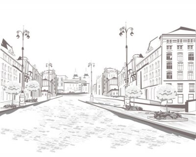 Canvas print Series of street views in the old city, sketch