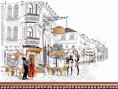 Canvas print Series of street views with people in the old city