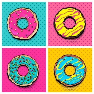 Canvas print Set doughnut sweet food, donut cartoon pop art style. Vector colored illustration halftone pattern. Vintage retro design. Collection comic book bakery glazed crumpet poster.