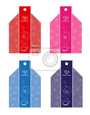 Set labels of fruit tea: strawberry, raspberry, blueberry, black