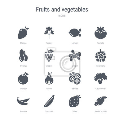 set of 16 vector icons such as sweet potato, tuber, zucchini, banana, cauliflower, berries, onion, orange from fruits and vegetables concept. can be used for web, logo, uiu002fux