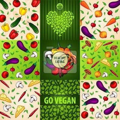 set of background with vegetables vegetarian