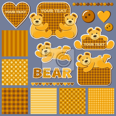 set of backgrounds and stickers with bears for scrapbook