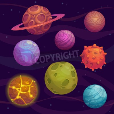 Canvas print Set of cartoon fantastic planet on space background