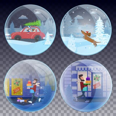 Set of Christmas snow globes: men and his dog are preparing for Christmas. Vector