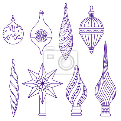 Set of Christmas toys and bits for the top of the tree. Vector