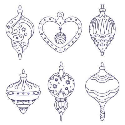 Set of Christmas tree decorations. Vector
